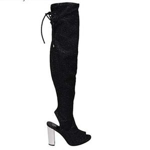 Shoes - Black Glittered Over the Knee Heel Boots NWOT